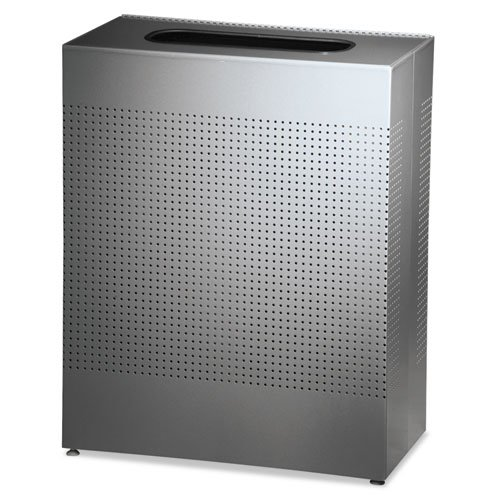 Rubbermaid Commercial Designer Line Silhouettes Receptacle, Square, Steel, 22.5, Silver - Includes one waste - Line Commercial Designer Rubbermaid