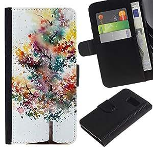Billetera de Cuero Caso Titular de la tarjeta Carcasa Funda para Samsung Galaxy S6 SM-G920 / Tree Painting Watercolor Autumn / STRONG