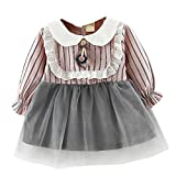 Baby Girls Dress for 0-24 Months Kids, Xinantime Toddler Girls Long Sleeve Dress Lace Stripe Clothes Party Princess Dresses (12-18 M, Pink)