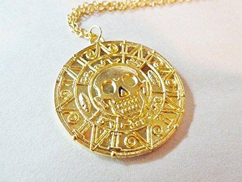 (Pirates of the Caribbean Necklace Gold Brass Coin Pendant Medallion Aztec Movie Film Johnny Depp Orlando Bloom Captain Jack Sparrow)