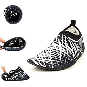 Mutifunctional Barefoot Shoes, Quick-dry Water Shoes with Carry Bag, Anti-skid Aqua Socks with Rubber Sole, for Driving Exercise Beach Swimming (V-White, US 10-11 Men, US 11.5-12.5 Women / EUR 44-45)