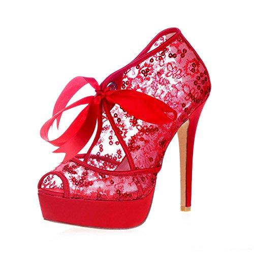 L rot yc spähende high schuhe hochzeit spitze spitze gericht heels 3128 plattform pumpe 34 frauen TTdq6wr