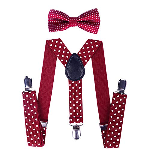 Child Kids Suspenders Bowtie Set - Adjustable Suspender Set for Boys and Girls (Wine red Polka dot, 30Inches (6 Years to 5 Feet -