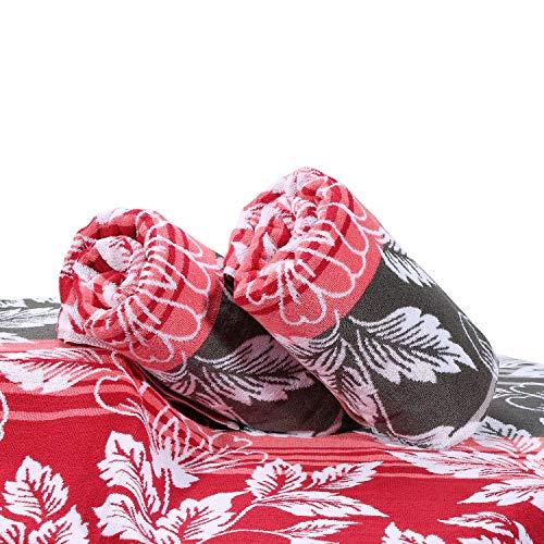 Surfwaii Oversized Plush Beach Towel 100% Combed Cotton 32x66 Inch Thick Pool Towel Cabana Towel Machine Washable (Hawaii Flower 1 Pack (Blue Hibiscus Beach Towel)
