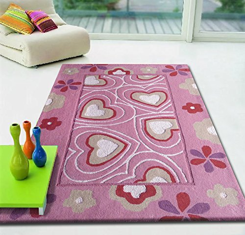 ~4 ft. x 6 ft. Pink with Hearts Girl Rug, Kids Collection On Sale!