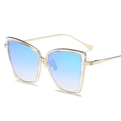 ZHOUYF Gafas de Sol Nuevo Diseñador De La Marca Cateye Gafas De Sol Mujer Gafas De Metal Vintage para Mujer Espejo Retro Lunette De Soleil Femme Uv400, C: Deportes y aire libre