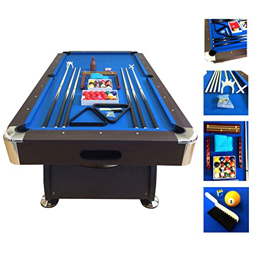 Billiard Pool Table 7' Feet Snooker Full Set Accessories Game mod. BLUE SEA by SIMBAUSA