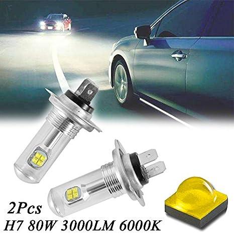 Tolyneil - 2 bombillas LED de repuesto para faro delantero de coche, H7, 80 W, 3000 lm, 6000 K, CREE: Amazon.es: Iluminación