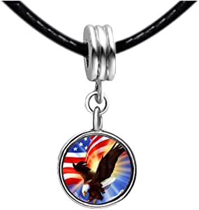 Chicforest Silver Plated American Eagle With Banner Independence Day Photo Sapphire Crystal September Birthstone Flower dangle Charm Beads Fits Pandora Charm
