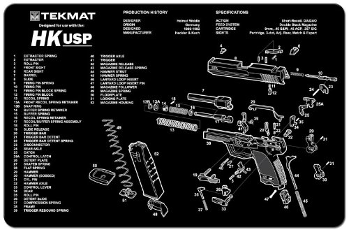 TekMat Heckler & Koch HK-USP Cleaning Mat / 11 x 17 Thick, Durable / Handgun Cleaning Mat with Parts Diagram and Instructions / Armorers Bench Mat / Grey