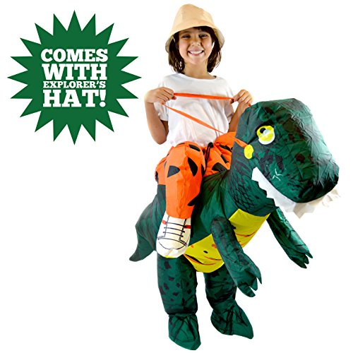Spooktacular Creations Inflatable Dinosaur T-rex Air Blowup Costume Deluxe Child Size (90's Kid Halloween Costume)