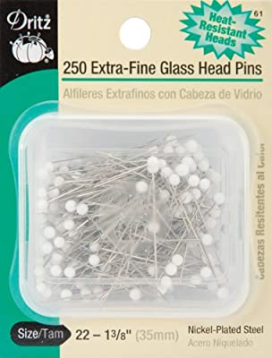 Dritz 182 Glass Head Pins 100-Count 1-1//4-Inch