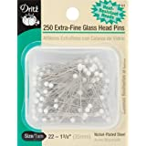 Dritz 1-3/8-Inch Extra Fine Glass Head Pins, 250 Count