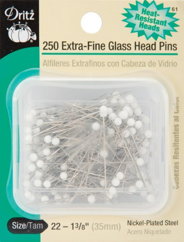 - Dritz 61 Glass Head Pins, Extra Fine, 1-3/8-Inch (250-Count)