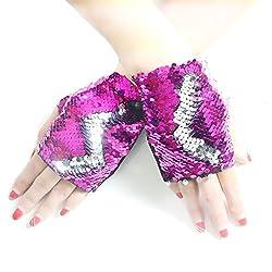 Sliver-Rose Reversible Sequin Mermaid Fingerless Glove