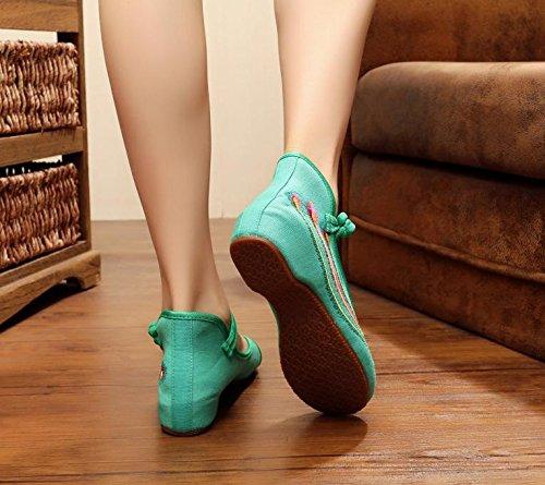 xiuhuaxie Tuchschuhe GuiXinWeiHeng weibliche new bequem green Sehnensohle Schuhe Gestickte Stil Mode Tanzschuhe ethnischer d8Brq8xw