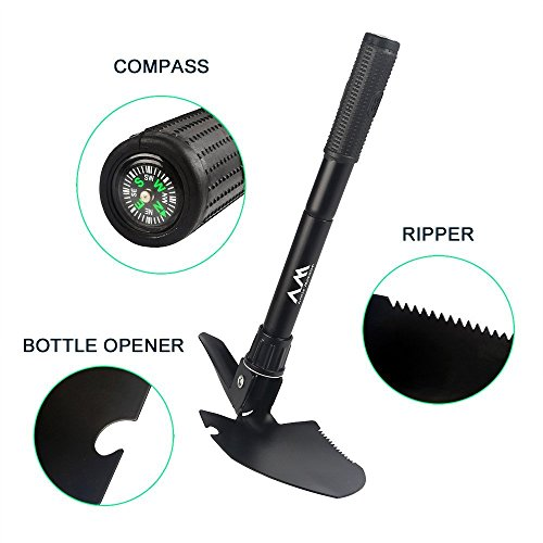 Camping Folding Shovel, Arctic Monsoon, 5 in 1 Synthetic Steel Mini Shovel with Pickax, Compass, Bottle Opener and Carry Pouch