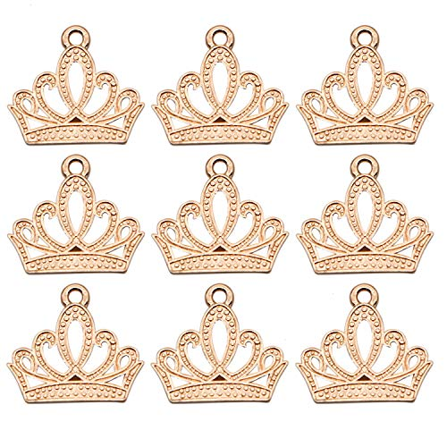 JETEHO Set of 100 Mini Lovely Alloy Crown Charms Pendants DIY Vintage Charms Findings Pendant for Necklace Bracelet Jewelry Making and Crafting,Gold ()