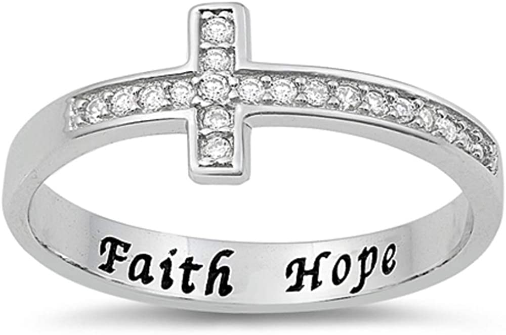 Princess Kylie Clear Cubic Zirconia Faith Hope Cross Ring Sterling Silver
