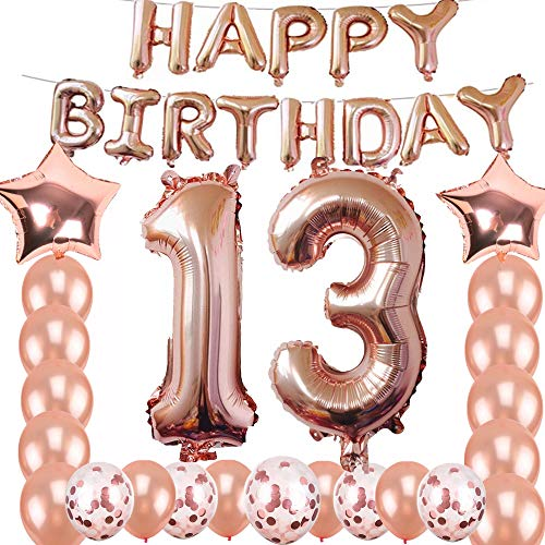 13th Birthday Decorations Party Supplies, Jumbo Rose Gold Foil Balloons for Birthday Party Supplies,Anniversary Events Decorations and Graduation Decorations Sweet 13 Party,13th Anniversary