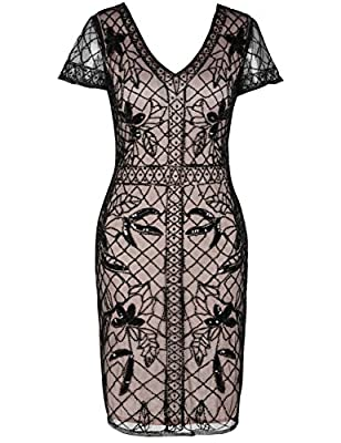 kayamiya Women's 1920s Gatsby Dress Sequin Beaded Cocktail Flapper Dress With Sleeves