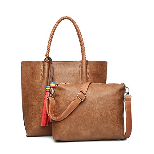 Shoulder Handbag Bag New (Women's Handbag, Large Tote Bag for Woman 2 Pieces Set Summer New Designer Shoulder Purses With Small Crossbody Pocket Bag (Camel))
