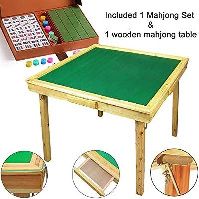 Juego de mesa Mahjong grande, de madera reversible y portátil, 88 ...