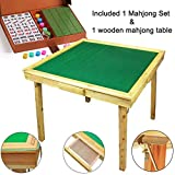 """35"""" Mahjong Game Portable Folding Reversible Wooden Square Large Table + A Complete Set 144 Numbered X-Large Tile Mahjong for Poker/Dominoes/Card/Paigow/Mahjong Game Table with Coin Drawers"""