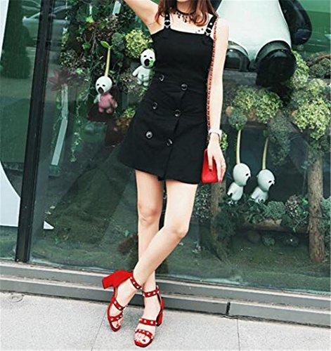 Perline GAOGENX Vestito Roma Da Heel rivetti 35 Block scamosciato sandali Scarpe Pentagramma 41 donna da a EU41 Deduzione FXfnrAxXqp