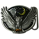 Owl and Moon Belt Buckle with display stand