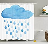 Fun Shower Curtain Apartment Decor by Ambesonne, Illustration of Rain Drops and Cloud in Watercolor Painting Effect Cute Nimbus Fun Art, Fabric Bathroom Curtain, 84 Inches Extra Long, Blue White
