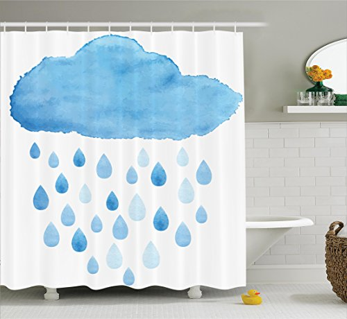 Apartment Decor Shower Curtain Set By Ambesonne, Illustration Of Rain Drops And Cloud In Watercolor Painting Effect Cute Nimbus Fun Art, Bathroom Accessories, 69W X 70L Inches, Blue White
