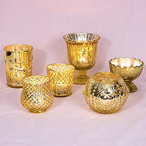 Cultural Intrigue Luna Bazaar Vintage Glam Mercury Glass Candle Holders (Gold, Set of 6) - for Use with Tea Lights - for Home Decor, Parties, and Wedding Decorations - Mercury Glass Votive Holders]()