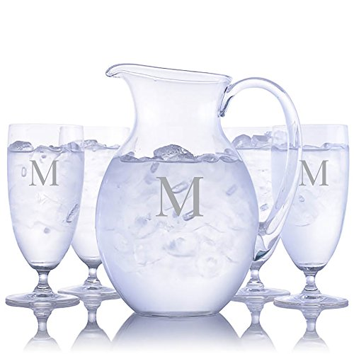 Personalized Waterford Vintage Crystal Iced Beverage 4 pc Glass Set with Vintage Round Pitcher Engraved & Monogrammed - Housewarming Gift - Bridal Shower Gift