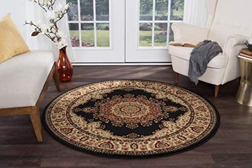 Fiona Traditional Oriental Black Round Area Rug, 5 Round