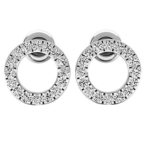 Dazzlingrock Collection 0.33 Carat (ctw) 10K Round White Diamond Ladies Circle Shape Stud Earrings 1/3 CT, White ()
