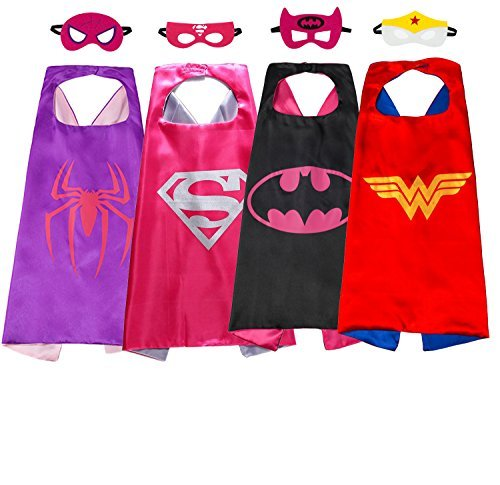 Superhero Capes Dress up Cartoon Costumes Set of 4 with Masks for Kids Party Girls -