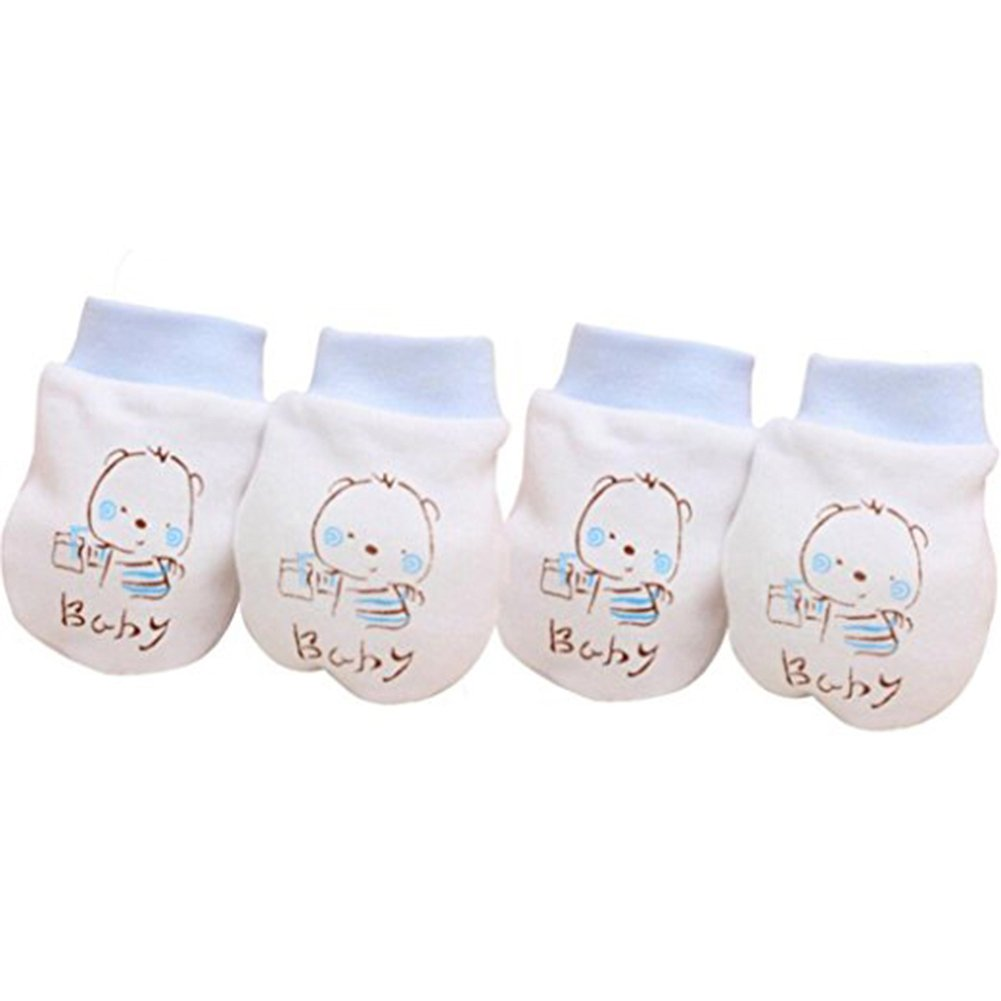 Tangbasi 2 Pairs Newborn Baby Anti Scratch Mittens Infant Baby Soft Cotton Gloves