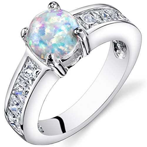 Created Opal Engagement Ring Sterling Silver 1.25 Carats Size 8 (Gold Multi Color Gemstone Ring)