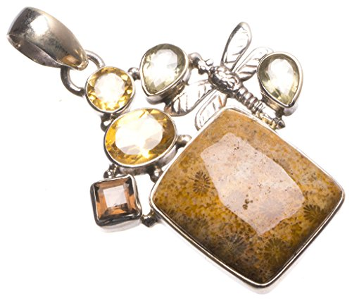 Natural Chrysanthemum Jasper,Citrine and Smoky Quartz Mexican 925 Sterling Silver Pendant 2