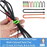 EliteTechGear Twist Ties For Organizing Your Gear Assorted Sizes (16-Pack)
