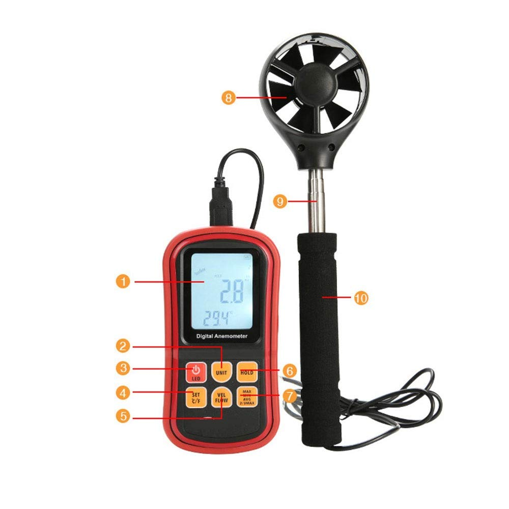 Sugoishop Digital Anemometer Wind Temperature Measurement Wind Speed Gauge Wind Vane (Color