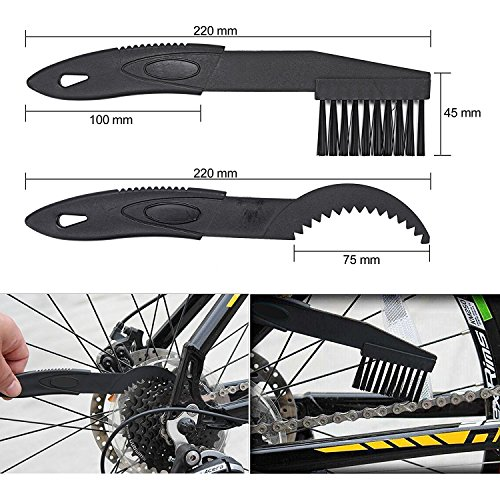 Oumers Bike Cleaning Tools Set (10 Pack), Bicycle Clean Brush Kit Make Mountain, Road, City, Hybrid, BMX and Folding Bike Chain/Crank/Sprcket/Tire Corner Rust Blot Dirt Clean   Durable/Practical by Oumers (Image #5)
