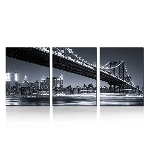 iK Canvs - 3 Piece Modern Black and White New York City Wall Art Manhattan Skyline Bridge at Night Pictures on Canvas Print Painting Home Decoration Framed Art Work for Living Room 12x16inchx3pcs