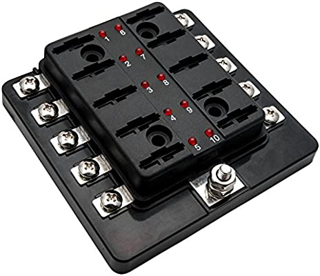 MASO BOAT - Caja de fusibles para coche, 10 vías, universal, 12 V ...