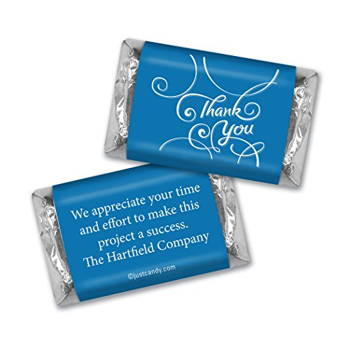 Personalized Miniature Candy Bars - Thank You Personalized Hershey's Miniatures Wrappers - Scroll (100 Wrappers) Royal Blue