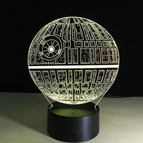 Star Wars Todesstern Licht-bunte 3D-Licht stereoskopische optische LED USB-Tischlampe Tuofeng Nachtlicht Touch-Pad-Schalter und produziert einzigartige Lichteffekte und 3D-Visualisierung - erstaunliche optische Täuschung