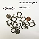 CASTMATE Bow Shackle, 4mm, SS, for Paracord Jewelry, Marine Tackle. 10 pieces