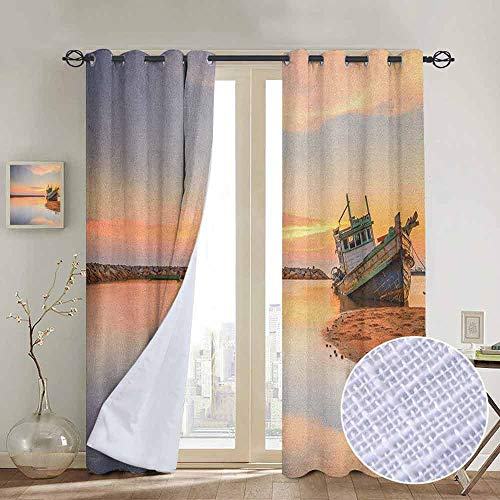 NUOMANAN backout Curtains for Bedroom Nautical,Vessel on Coast Long Exposure Dramatic Sunset Photo Solitude Lonely Twilight Theme, Blue Peach,Pocket Thermal Insulated Tie Up Curtain 52