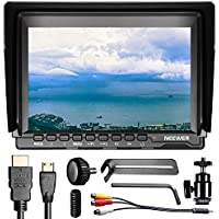 Neewer NW759(C) 7 inches 1280x800 IPS Screen Field Monitor with 1 Mini HDMI Cable for BMPCC AV Cable for FPV,16:10 or 4:3 Adjustable Display Ratio for Sony Canon Nikon Panasonic (Battery not included)